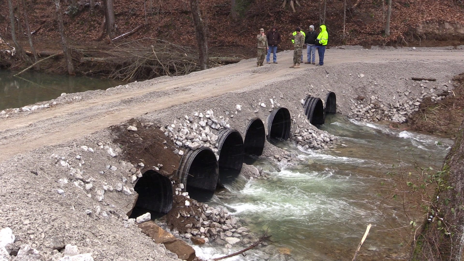 Letcher residents stranded by bridge fall get new crossing