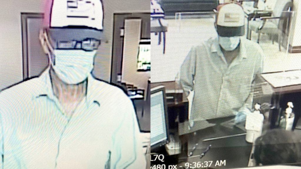 Security photos of the suspect in Wednesday morning's robbery of the Community Trust Bank branch in New Allen.