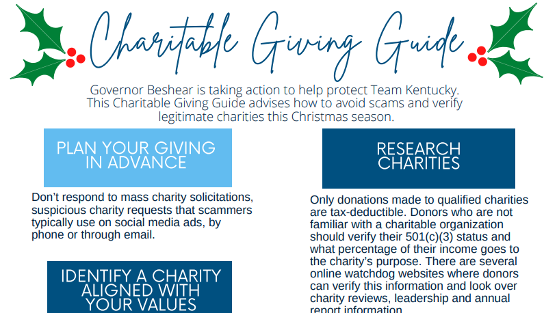 Governor releases guide to avoiding charity scams
