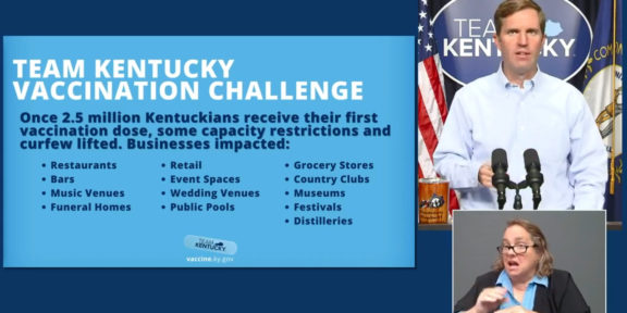 Gov. Andy Beshear said Monday that most public venues will be able to reopen at full capacity, once the state reaches 2.5 million vaccinations. Currently, nearly 1.6 million Kentuckians have been vaccinated.