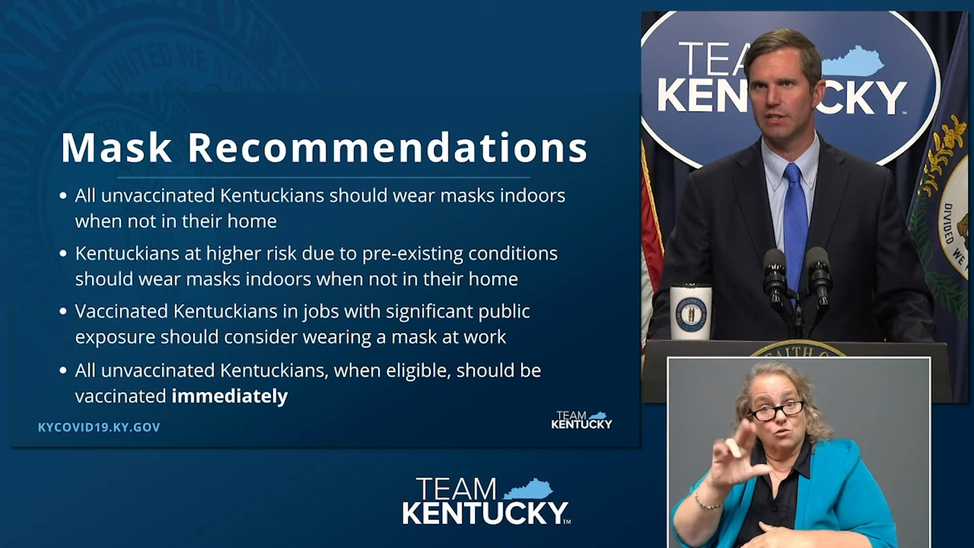 Gov. Andy Beshear offered suggestions for Kentuckians to protect themselves from the coronavirus, which is once again beginning to surge, largely due to a mutation called the delta variant.