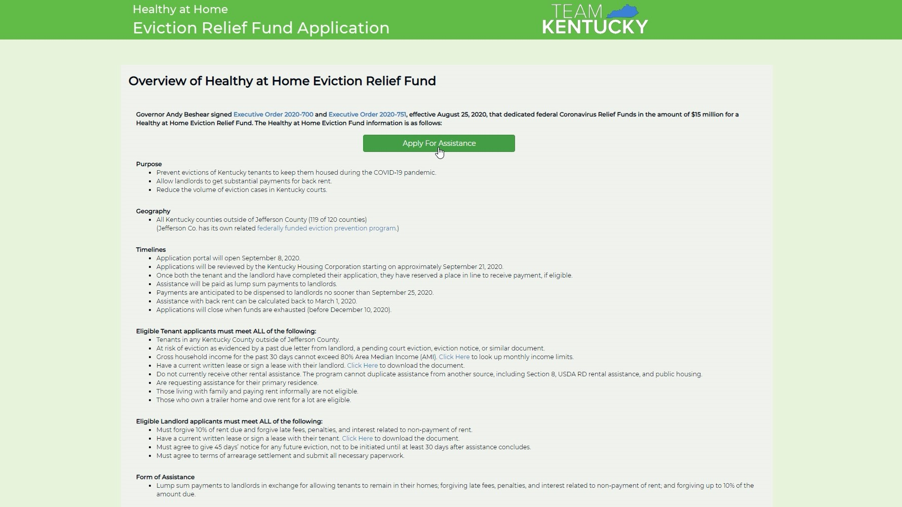 Kentucky now taking applications for rent help