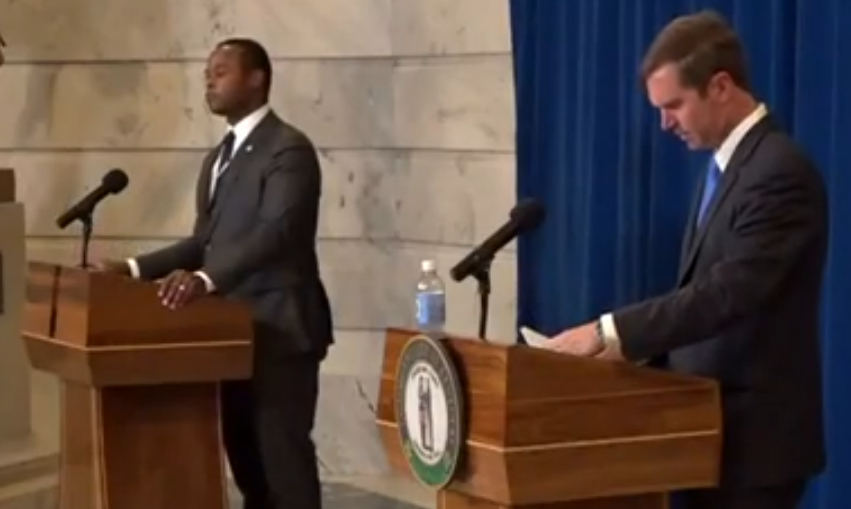 """Attorney General Daniel Cameron and Gov. Andy Beshear take questions from the press following the announcement of """"Operation United Front."""""""