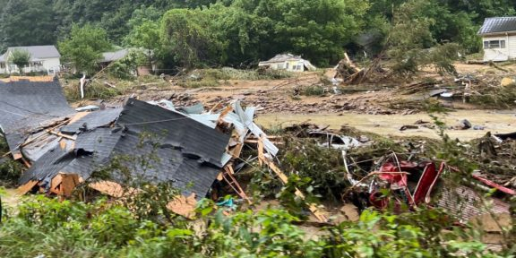 A view of some of the damage at Guesses Creek. (photo by Virginia State Police)
