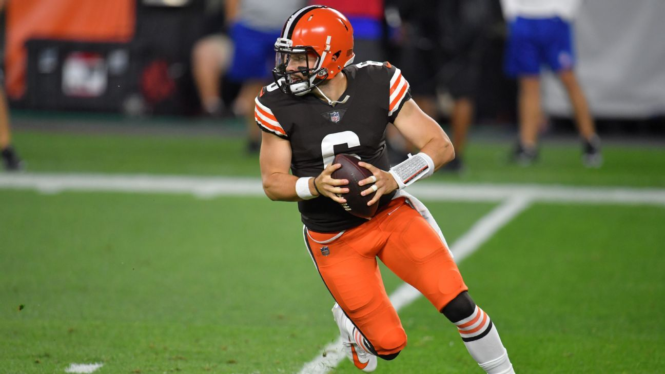 Browns' Baker Mayfield rolls out for 43-yard TD pass to Odell Beckham Jr.