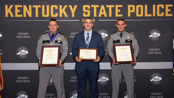 Post 13 Meritorious Service Award winner Tpr. Micheal Caudill, Post 13 Detective of the Year Det. Joshua Huff, and Kentucky State Trooper of the Year Tpr. Jerry A. Baker Jr.