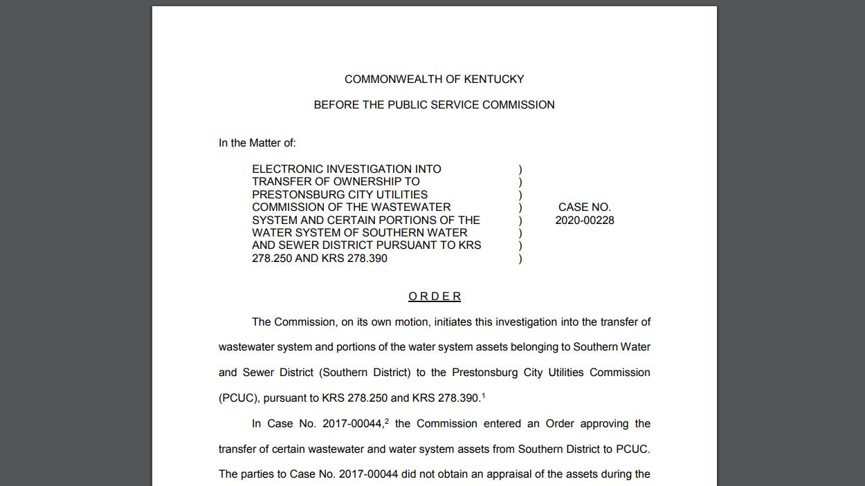 PSC investigating Floyd utility transfer